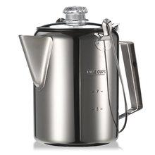 Открытый 9 чашек маркировка Перколятор из нержавеющей стали кофейник кофеварка для кемпинга Дома кухни(Китай)
