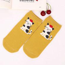 Женские носки с милыми животными; Удобные хлопковые короткие Носки с рисунком кота, кролика, пингвина; Милые короткие носки; Забавные носки(Китай)