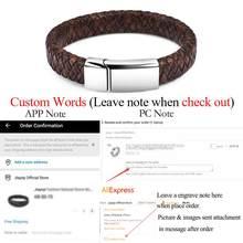 Мужской браслет Jiayiqi в стиле панк, индивидуальный логотип, магнитная застежка из нержавеющей стали, кожаный браслет, персонализированные юв...(Китай)