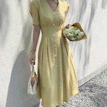 Женское платье на молнии, простое длинное винтажное платье длиной до колена с треугольным вырезом и рюшами(Китай)