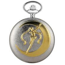Роскошные модные кварцевые карманные часы Аниме косплей Сейлор Мун Тема ожерелье кулон женские Девушки цепь часы лучшие подарки(Китай)