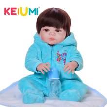 KEIUMI True To Life силиконовые куклы для новорожденных, 23 дюйма, полностью винил Boneca Reborn Menino для малышей, модные золотые волосы(Китай)