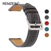 REMZEIM новые кожаные 18 20 22 24 мм ремешок для часов быстросъемные часы ремешок серый черный синий красный для мужчин женщин Смарт часы(Китай)