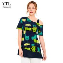 YTL цветные геометрические узоры, летние топы, короткий рукав, туника, картина маслом, текстура, женская футболка, Женский Топ H205(Китай)