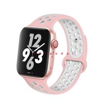 Спортивный силиконовый ремешок для Apple watch band 44 мм 42 мм iWatch band 40 мм 38 мм Спортивный Браслет Apple watch serie 5 4 3 2 1 Аксессуары(Китай)