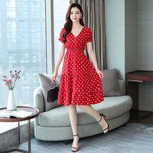 2020 женское шифоновое пляжное платье миди в красный горошек, летнее винтажное платье размера плюс в стиле бохо, элегантное женское облегающе...(Китай)