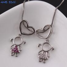 Кулон для мальчиков и девочек MHS.SUN, роскошное ожерелье с цирконом, кулон для девочек, ожерелье с цепочкой в виде сердца, подарок для влюбленн...(Китай)