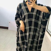 Женское длинное платье EAM, клетчатое платье большого размера с треугольным вырезом и рукавом три четверти, модель 1W904 на весну-лето 2020(Китай)