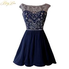BeryLove/голубое платье для выпускного вечера 2020, расшитое блестками платье для выпускного вечера, плиссированное шифоновое вечернее платье с ...(Китай)