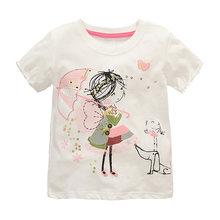 Детская футболка для девочек, летние хлопковые топы для малышей, футболки для малышей, детская одежда, футболки с мультипликационным принто...(Китай)