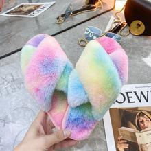 Меховые шлепанцы; Женские пушистые шлепанцы; Разноцветные плюшевые шлепанцы без застежки; Женская разноцветная домашняя обувь; Zapatos De Mujer(Китай)