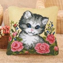 Милый котенок Smyrna Kussen Kleed La Casa De Latch крюк для вышивания ковров Набор крючков для ковров наволочка из парусины DIY подушка Foamiran(Китай)