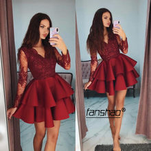 Бордовое Многоярусное кружевное платье для выпускного вечера с длинным рукавом ТРАПЕЦИЕВИДНОЕ мини-платье выше колена, элегантные коктейл...(Китай)