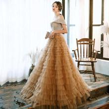 SSYFashion/Новинка; роскошное вечернее платье цвета шампанского; романтическое длинное многослойное платье принцессы с блестками; торжественно...(Китай)