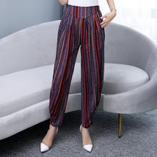 Женские корейские винтажные брюки 2020 с принтом в полоску с высокой талией, свободные клетчатые брюки с завышенной талией, элегантные летние...(Китай)
