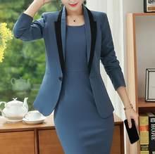 Костюмы Офисная Женская одежда для работы формальный бизнес комплект из 2 предметов плюс размер элегантный дизайн длинный рукав Блейзер То...(Китай)