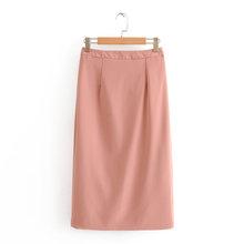 Два 2020 осень розовый кусок женский сплошной двубортный Блейзер и молния набор с юбкой миди офисные женские юбки костюмы(Китай)