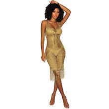 Женское золотое вязаное крючком Клубное платье с глубоким v-образным вырезом без рукавов, летнее пляжное платье миди, женские платья(Китай)