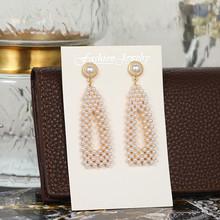 Женские Геометрические длинные серьги-подвески JOUVAL, элегантные Винтажные серьги с имитацией жемчуга в стиле бохо(Китай)