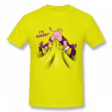Футболка Majin Buu 100% хлопок, Мужская футболка Dragon Ball Z Vaporwave, забавная футболка, мультфильм японское аниме, футболки I'm Hungry(Китай)