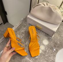 Женские летние уличные сандалии, шлепанцы на высоком квадратном каблуке, женские брендовые тапочки, элегантные женские шлепанцы(Китай)