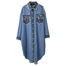 Женское платье-рубашка EAM, синее платье-рубашка в полоску с длинным рукавом, A282, 2019(Китай)