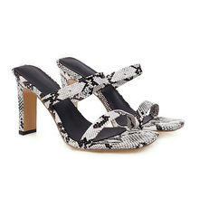 Meotina/летние шлепанцы; женская обувь; модная обувь на толстом высоком каблуке; элегантные шлепанцы с открытым носком; женские босоножки; Цвет ...(Китай)