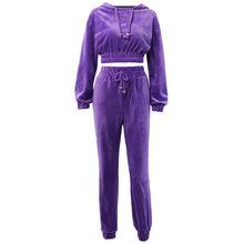 Womail спортивный костюм женский осенний теплый длинный рукав на шнурке толстовка с капюшоном укороченный топ + длинные брюки Тонкий комплект ...(Китай)