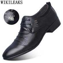 Открытые оксфорды; Официальная обувь; Мужские кожаные свадебные туфли; Цвет Черный; Heren Schoenen; Оксфорды для мужчин; Модельные туфли; Лоферы 2020 ...(Китай)