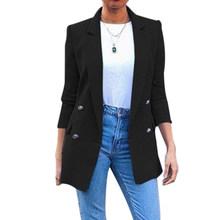 Женский пиджак, длинный однотонный пиджак, офисный пиджак с отложным воротником, повседневная женская верхняя одежда, пиджак(Китай)