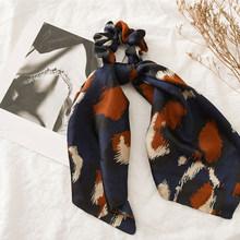 Женский шарф для волос с леопардовым принтом и узелками, эластичная резинка для волос с бантом, аксессуары для волос, 2019(Китай)