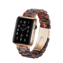 Итальянский ремешок из смолы для iWatch 44 мм/42 мм для Apple Watch 5 40 мм 38 мм браслет на запястье керамический ремешок ручной работы серия 5/4/3 ремешок ...(Китай)