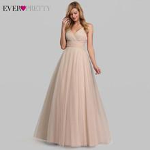 Милые розовые платья подружки невесты для женщин, Ever Pretty EP07905PK A-Line V-образный вырез, тюлевые блестящие свадебные платья для гостей, Sukienki veselne(Китай)
