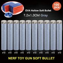 100 шт патронов присоски 7,2*1,3 см заправка игрушка дартс пистолет пены EVA Пули для nerf для мальчиков, подарок для ребенка, малыша оружейные пули ...(Китай)