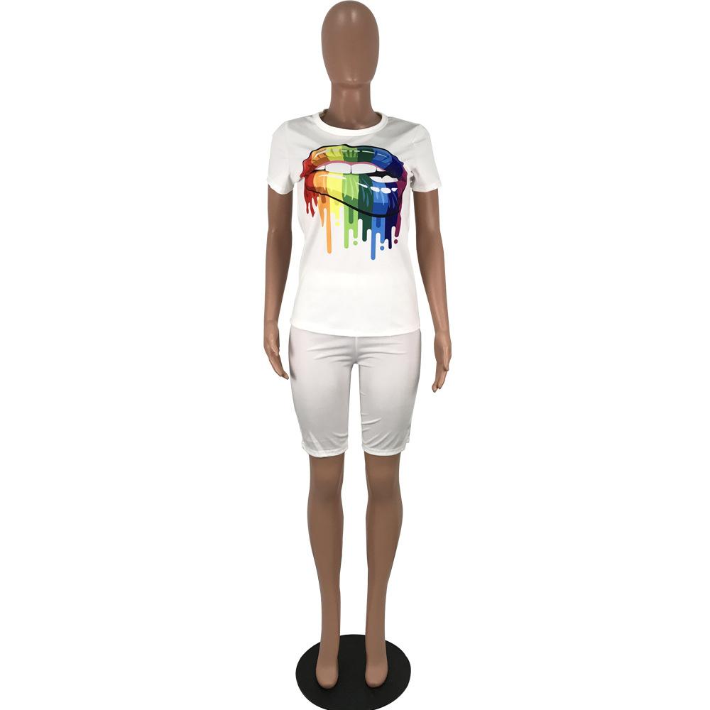 Женский комплект одежды из двух предметов с принтом радужных губ, футболка с круглым вырезом и короткими рукавами и байкерские шорты, летни...(Китай)