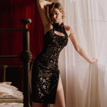 Черный сексуальный ретро бандаж Cheongsam Ночная рубашка Китайский стиль Весна и зима бархатные ночные рубашки пижамы для женщин Ночная рубашк...(Китай)
