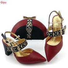 Doershow/хит продаж, итальянский комплект из туфель и сумочки золотого цвета, Итальянская обувь с сумочкой в комплекте, свадебные туфли и сумочк...(Китай)