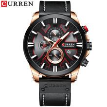 Часы CURREN Мужские, спортивные, кварцевые, с кожаным ремешком(Китай)