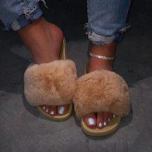 PuimentiuaNew/женские меховые тапочки; Модель 2020 года; Меховые шлепанцы; Женские меховые пляжные шлепанцы; Пушистые женские туфли; Большие размеры(Китай)
