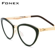 Ацетатная оправа для очков, Женская оправа для очков кошачий глаз по рецепту, оправа для очков при близорукости, Безвинтовые очки 618(Китай)