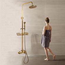 Ванная комната 8 ''душ с дождевой насадкой набор античный латунный душевой кран поворотный носик с полкой 3 водная дорога смеситель для душа(Китай)