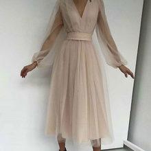 Черное сексуальное платье с v-образным вырезом из сетчатой пряжи, платье с длинными рукавами, приталенное платье подружки невесты, повседне...(Китай)