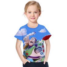 Toy Story/4 футболки, хлопковая футболка с короткими рукавами с принтом «древесный Базз Лайтер», детская одежда с рисунком для мальчиков и девоч...(Китай)