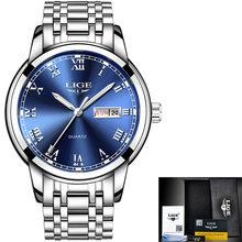 Женские наручные часы LIGE, золотисто-синие кварцевые часы от ведущего бренда, роскошные часы для девушек, Relogio Feminino + коробка(Китай)