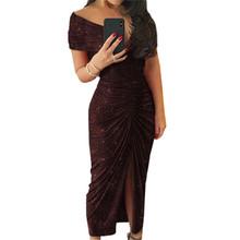 Женское вечернее платье с v-образным вырезом и открытыми плечами, черное платье с блестками, новинка 2020(Китай)