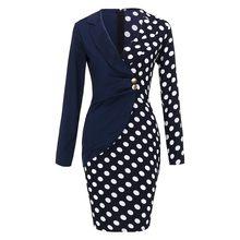 Женское платье в горошек, элегантное винтажное облегающее платье-карандаш в стиле знаменитостей для офиса и вечеринок, Осень-зима # L35(Китай)