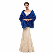 JaneVini Королевское синее женское меховое свадебное болеро, зимнее свадебное вечернее платье для невесты, шаль из искусственного меха, плащи, ...(Китай)