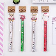 1 шт./лот, мультяшный Санта-клоун, дизайн кактуса, деревянное прямое правило, школьные и офисные принадлежности, Детские корейские Канцтовар...(Китай)