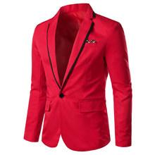 Роскошный Мужской приталенный офисный Блейзер, модный однотонный мужской костюм, пиджак, свадебное платье, пальто, повседневный деловой му...(Китай)