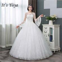 It's YiiYa/новое простое свадебное платье с длинными расклешенными рукавами и круглым вырезом на шнуровке сзади; Свадебное платье; HS283(China)